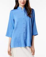 Eileen Fisher Silk Mandarin-Collar Tunic