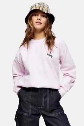 Topshop Womens Petite Pink Zebra Emoji Sweatshirt - Pink