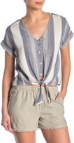 Cloth & Stone Striped V-Neck Tie Hem Top