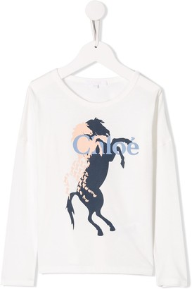 Chloé Kids horse print long-sleeved T-shirt