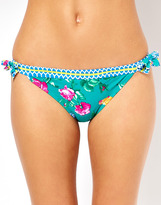 South Beach Scarf Print Bikini Bottom With Double Bow Detail
