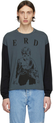 Enfants Riches Deprimes Grey and Black Printed Long Sleeve T-Shirt