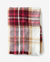 Express berry and ivory plaid blanket scarf