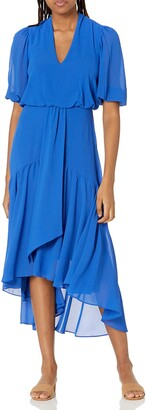 Taylor Dresses Women's Elbow Sleeve V-Neck Waist Tie Solid High-Low A-Line Chiffon Dress