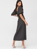 Missguided Milkmaid Shirred Bust Midi Polka Dot Dress - Black
