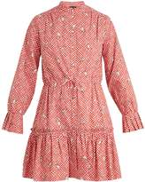 Saloni Billie hand-print checked-cotton dress