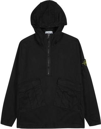 Stone Island Black Hooded Stretch-cotton Overshirt