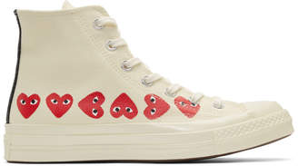 Comme des Garcons Off-White Converse Edition Multiple Heart Chuck 70 High Sneakers
