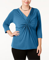 NY Collection Plus Size Criss-Cross Top