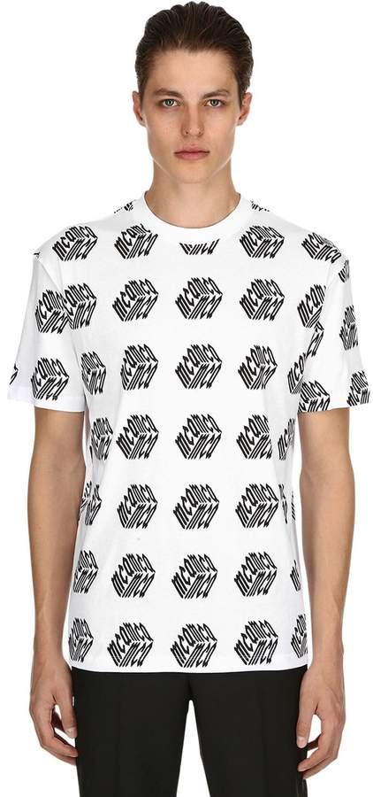 McQ Cube Printed Cotton Jersey T Shirt