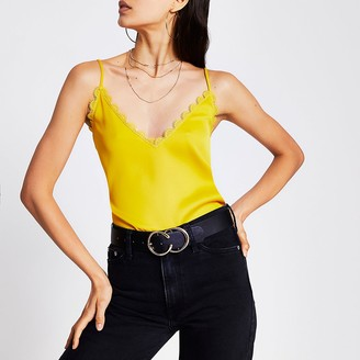 River Island Yellow embroidered scallop trim cami top