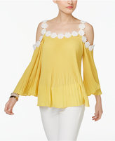 INC International Concepts Petite Lace-Trim Cold-Shoulder Top, Only at Macy's