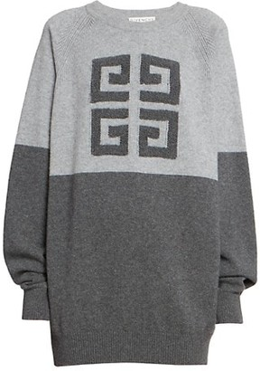 Givenchy Bi-Color Intarsia Cashmere Knit Sweater