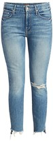 Mother Looker High-Rise Ankle Fray Skinny Jeans
