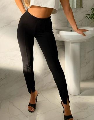 ASOS DESIGN jersey slim split front suit trousers in black