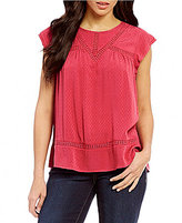 Democracy Solid Crochet Spliced Yoke Top