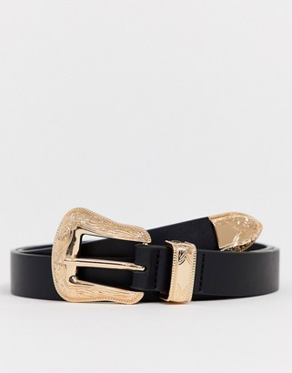 ASOS DESIGN slim western belt in black faux leather with gold buckle