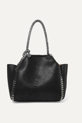 Stella McCartney The Falabella Mini Reversible Faux Brushed-leather Tote - Black