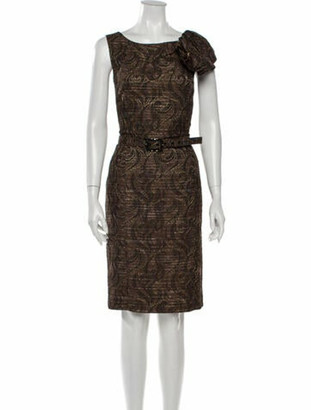 St. John Couture Scoop Neck Knee-Length Dress w/ Tags Brown