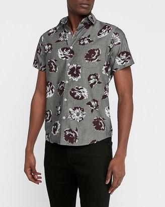 Express Slim Floral Chambray Soft Wash Shirt