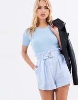MinkPink Stripe D-Ring Paperbag Shorts
