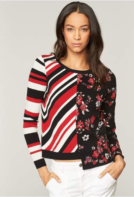 Milly Twilight Floral Stripe Pullover