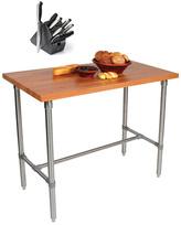 John Boos CHY-CUCKNB424 Cherry Cucina Americana Classico 48 x 24 Table and Henckels 13-piece Knife Block Set