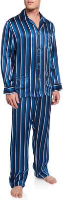 Derek Rose Men's Brindisi 40 Striped Silk Pajamas