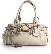 Chloé Beige Leather Paddington Brass Tone Lock Flap Satchel Handbag BY4854CHL MH