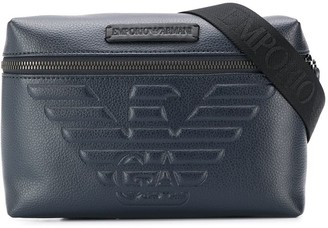 Emporio Armani embossed logo cross body bag