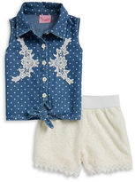 Nannette Girls 2-6x Girls Embellished Chambray Top and Lace Shorts Set