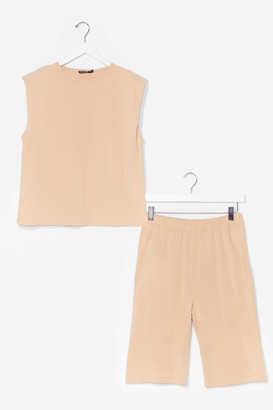 Nasty Gal Womens You and Tee Tank Top and Biker Short Set - Sand