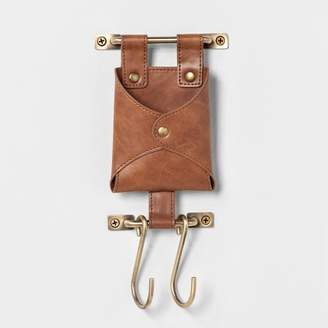 Threshold Entryway Tiny Hook With Leather Pouch Brown - ThresholdTM