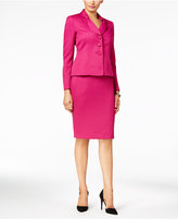 Le Suit Three-Button Pique Skirt Suit