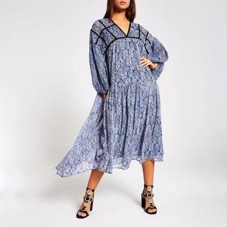 River Island Womens Blue printed smock midi dress