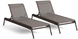 Pottery Barn Torrey All-Weather Wicker Stackable Chaise Lounge, Set of 2, Espresso