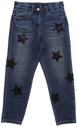 MonnaLisa Stretch Denim Jeans W/ Patches