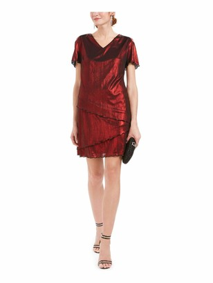 Connected Apparel Womens Red Ruffled Shimmer Short Sleeve V Neck Above The Knee Sheath Cocktail Dress UK Size:14