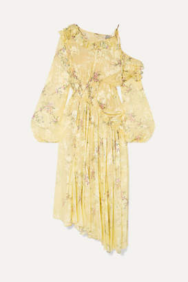 Preen by Thornton Bregazzi Sheila Floral-print Devore Silk-blend Satin Dress - Yellow