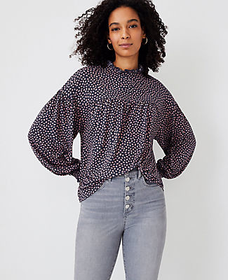 Ann Taylor Animal Print Gathered Ruffle Neck Top