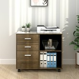 Newfields Wood 3-Drawer Mobile Lateral Filing Cabinet Ebern Designs Color: Gray Oak