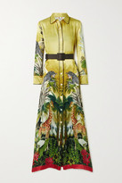 F.R.S For Restless Sleepers Elpis Belted Printed Hammered Silk-satin Maxi Dress - Yellow