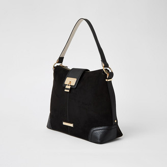 River Island Black faux suede lock front slouch bag