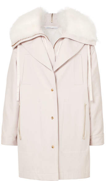 Agnona Layered Shearling-trimmed Cotton-canvas Parka - Baby pink