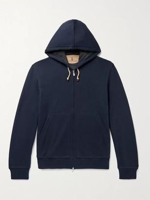 Brunello Cucinelli Double-Faced Cotton-Blend Jersey Zip-Up Hoodie