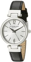 Stuhrling Original Women's 956.01 Symphony Stainless Steel Watch with Black Genuine Leather Band