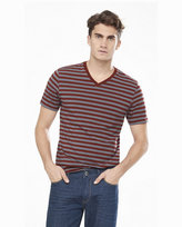 Express dark red and gray striped v-neck ringer tee