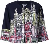 Moschino church print cropped jacket - women - Polyester/other fibers - 42
