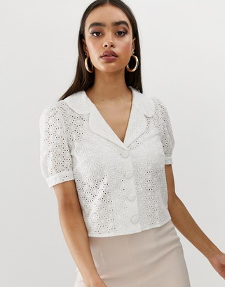 Fashion Union short sleeved blouse in broderie