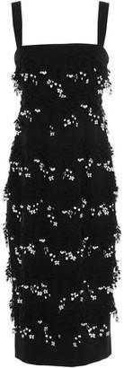 Lela Rose Floral-appliqued Wool-blend Crepe Midi Dress